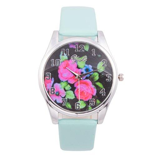 Yaki Casual Damen Uhren Analog Quarz-Armbanduhr Blumenmuster Zifferblatt mit Leder Armband für Frauen