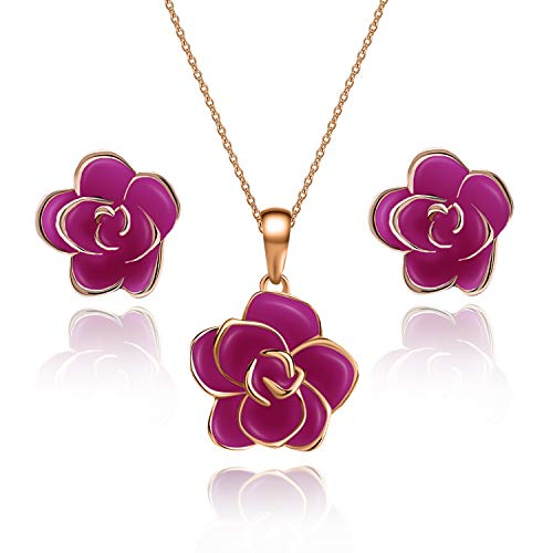 EVEVIC Rose Flower Necklace Earrings Set for Women Girls 18K Gold Plated Jewelry Sets (Purple/Rose Gold-Tone)
