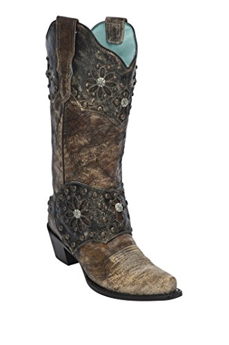 Corral Women's Collar and Harness Cowgirl Boot Snip Toe Brown 7.5 M (Studded Harness Cowgirl Boots)
