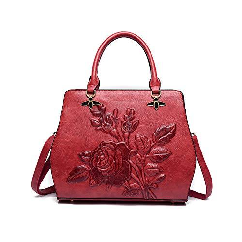 YJIUJIU Goffratura Stereo Femminile Borsetta Borsa A Tracolla Messenger Bag Adatto Per Lo Shopping, Incontri, Lavoro (Rosso)