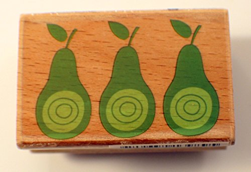 Pear Trio Whimsical Dotted Hampton Arts Studio G Wooden Rubber Stamp #INV104