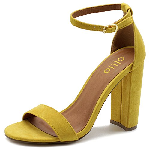 Ollio Womens Shoe Faux Suede Simple Ankle Strap Chunky High Heel Sandals MG33 (7 B(M) US, Yellow) ()