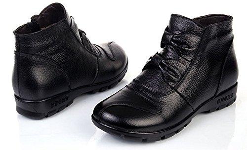 de Botas Deslizante de Zapatos Botas Nieve Trabajo Botines Cuero Negro4 Anti Lazada Mujer Calentar Alineado Otoño Invierno DAFENP Caliente qa8fgF