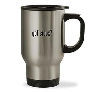 got sioux? - 14oz Sturdy Stainless Steel Travel Mug, Silver