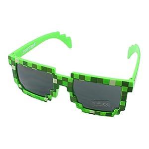 8 Bit Pixel Kids Sunglasses Green, Novelty Retro Gamer Geek Glasses for Boys and Girls Ages 6+ by EnderToys