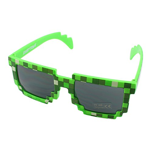 Pixel Kids Sunglasses Green, Novelty Retro Gamer Geek Glasses for Boys and Girls Ages 6+ by EnderToys