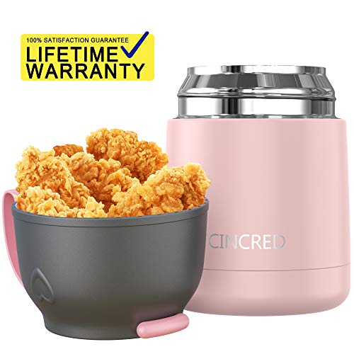 Updated 2019 Version Insulated Food Storage Container Thermos Food Jar Stainless Steel Vacuum Soup Lunch Flask Wide Mouth for Kids Baby with Spoon Leak Proof Hot Cold Food for School Picnic Outdoors