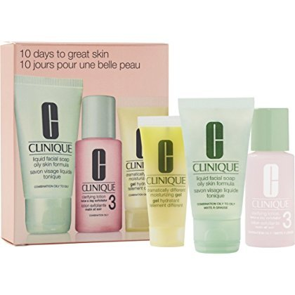 Clinique 10 Days to Great Skin Set: Liquid Facial Soap Oily Skin Formula + Clarifying Lotion Twice a Day Exfoliator 3 + Dramatically Different Moisturizing Gel by Clinique