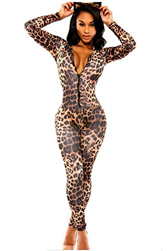 FASHION QUEEN Women's Spandex Dancewear Catsuit Bodysuit Leopard Prints Unitard (One Size, Leopard -