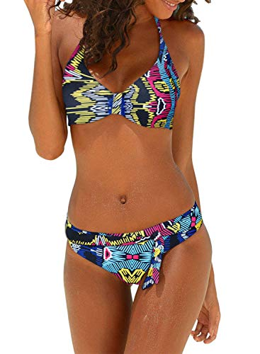 (Dokotoo Womens Plus Size Ladies Athletic Sporty Push Up Leaves Print Bandeau Brazilian Sexy Bikini Set Halter Bathing Suit 2 Piece with Tie Swim Bottoms Swimsuit Swimwear XX-Large)