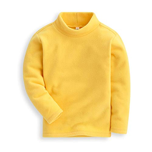 Mud Kingdom Girls Shirts Fleece Turtleneck Base Tops Plain 5 Yellow