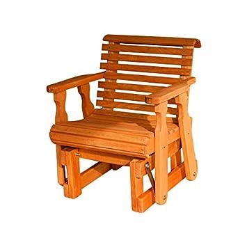 Amish Heavy Duty 600 Lb Roll Back Pressure Treated Glider Chair Cedar Stain