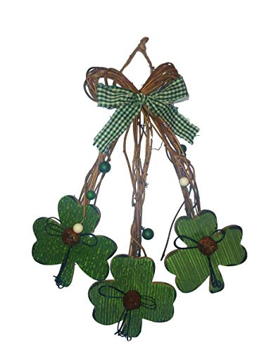 Country Charm Rustic St. Patrick's Day Primitive Wood Hanger Swag Wreath -