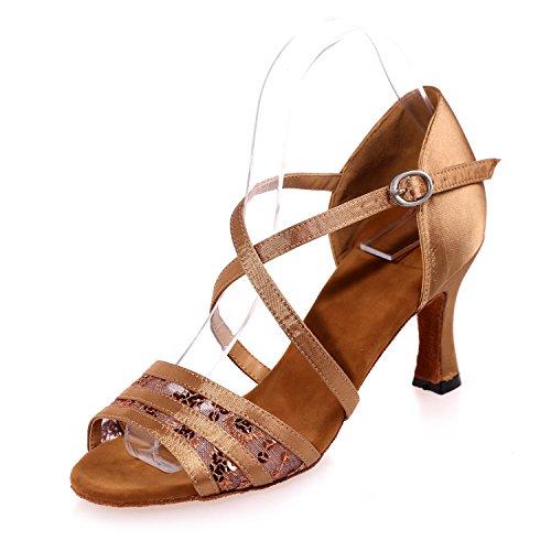 L@YC Zapatos De Baile De La Mujer Latina Flash Gasa De Interior Hebilla De Empalme Multicolor De Gran TamañO Se Puede Personalizar # Brown
