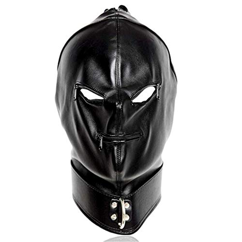 Zipper Mouth Costume (Leather Punk Gothic Full Face Unisex Hood Zipper Eyes Mouth Mask Halloween Costume)