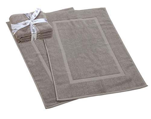 HILLFAIR 900 GSM-Hotel-Spa Tub-Shower Bath Mat Floor Mat – (2 Pack, Khaki-Stone, 21 Inch by 34 Inch) – 100% Ringspun Cotton Bath Mat/Bath Rugs,Machine Washable Cotton Bath Mats – Terry Bath Mats/Rugs