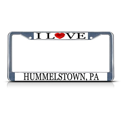 Sign Destination Metal License Plate Frame Solid Insert I Love Heart Hummelstown, Pa Car Auto Tag Holder - Chrome 2 Holes, One Frame ()