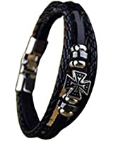 Cool Metal Cross Studded Surfer Leather Bracelet Wristband Cuff Men's Brown/Bk