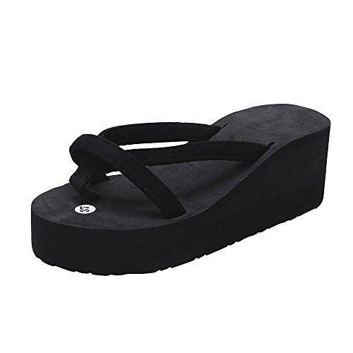POHOK Women's Summer Fashion Slipper Flip Flops Beach Wedge Thick Sole Heightening Shoes(37,Black) ()