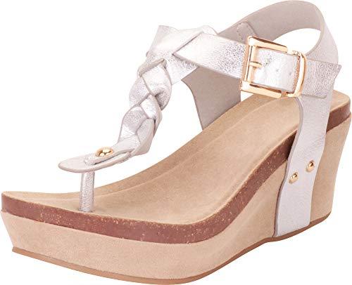 (Cambridge Select Women's Thong Toe Braided T-Strap Chunky Platform Mid Wedge Sandal,10 B(M) US,Silver PU)