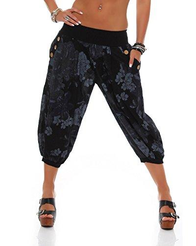 Pantalon Sarouel D'été Fashion Pantalons Dames Noir Bloomers Zarmexx 4 Imprimé Capri 3 Over Knickebocker All OI0qxgf