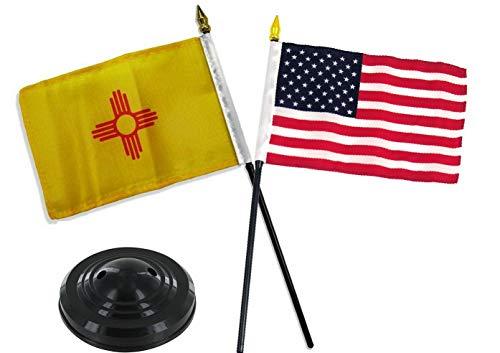 Mikash New Mexico State w/USA America American Flag 4x6 Desk Set Table Black Base | Model FLG - 2210