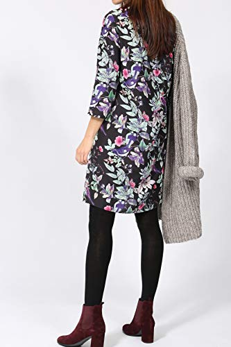 Mehrfarbig Print mit Kleid Vogel aus Seide bloom Blätter q4O0n