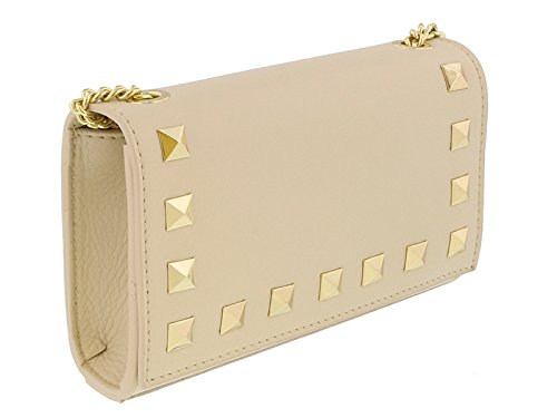 Scheilan Beige Leather Studded Mini Crossbody Shoulder Bag for Womens
