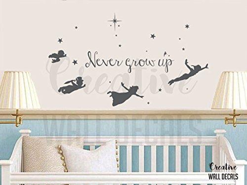 CreativeWallDecals Vinyl Wall Decal Sticker Peter Pan Tinkerbell Never Grow Up Nursery Fairy r1902 ()