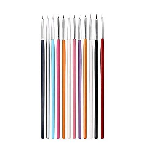 Upere 12 Pcs Colorful Nail Art Liner Brushes Drawing Dotting