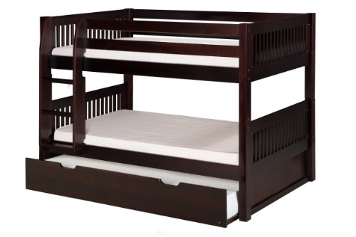 Cheap Camaflexi Mission Style Solid Wood Low Bunk Bed with Trundle, Twin-Over-Twin, Side Attached Ladder, Cappuccino