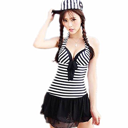 Ey Women's Nautical Stripe Push up Deep V Ruffle One Piece Dress Swimsuit