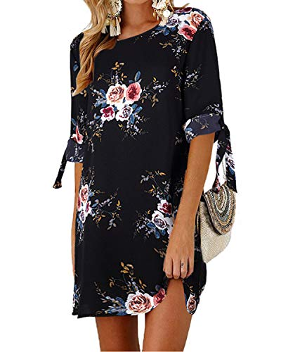 Kidsform Women Mini T-Shirt Dress Tie Sleeve Floral Print Solid Crew Neck Tunics Summer Blouse Dresses Floral-2 M