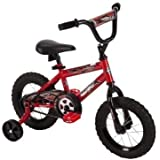 """12"""" Huffy Boys' Hi-rise Handlebar in Black with Decorated Handlebar Pad, Durable, Safe, Comfortable, Rock It Kids Bike, Red"""