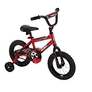 "12"" Huffy Boys' Hi-rise Handlebar in Black with Decorated Handlebar Pad, Durable, Safe, Comfortable, Rock It Kids Bike, Red"