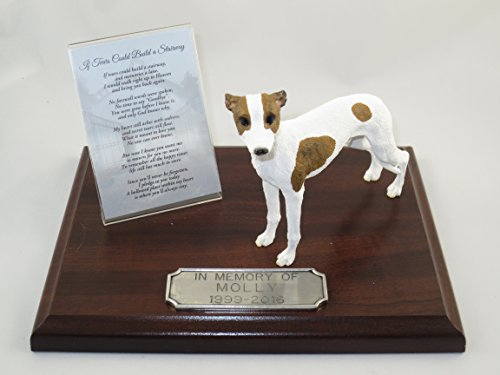 Beautiful Walnut Finished Personalized Memorial Plaque With Brindle & White Whippet Figurine