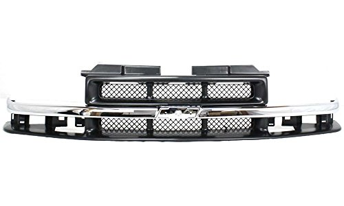 [Evan-Fischer EVA17772010882 Grille for Chevrolet Blazer 98-05/S10 Pickup 98-04 Mesh Insert Painted-Gray W/ Chrome Center Bar Replaces Partslink# GM1200419] (Chevrolet S10 Blazer Grille)