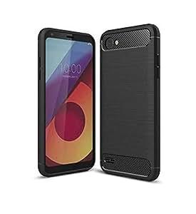 LG Q6 Carbon Fiber TPU Slim Lightweight Shockproof Case By JBQ -Black