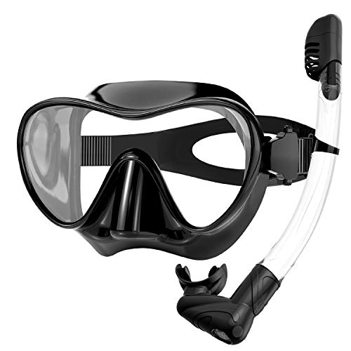 Rodicoco Snorkel Set Frameless Snorkel Goggles Foldable Snorkel Gear Detachable Snorkel Mask with 180 Degree Panoramic View and Anti Fog Tempered Glass for Swimming Scuba Diving Snorkeling