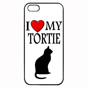 Custom Tortie I Love My Cat Symbol Silohuette iPhone 4 4S Case Cover Hard Shell