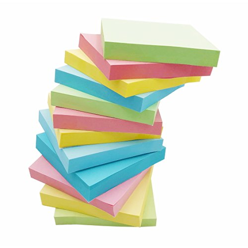 Amnadof 12 Pack Sticky Notes 3'' X 3'' 100 Sheets self stick notes with 4 Candy Colors, Easy to Post by AMNADOF