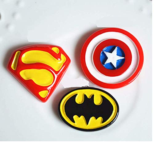 eroes Charms Set- 24pcs Batman CPT Superman Charms Resin Cabochons for Craft Making, Ornament DIY Crafts ()