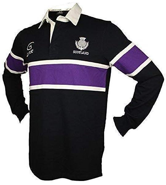 Scotland Navy Rugby Camisa de manga larga a rayas moradas: Amazon.es: Deportes y aire libre
