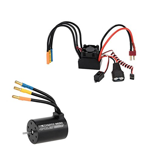 Boyiya 3650 3900KV 4P Sensorless Brushless Motor & 60A Brushless Splash-Proof Electronic Speed Controller ESC with 5.8V/3A Switch Mode BEC for 1/10 RC Car (Switch Bec)