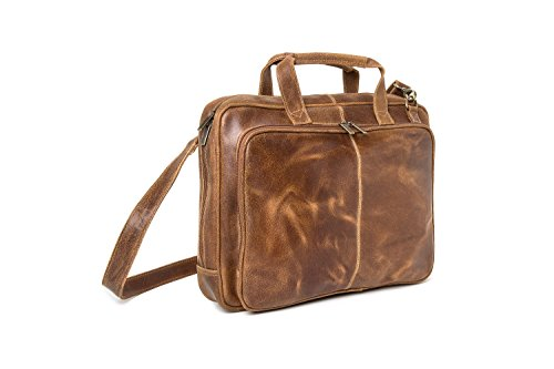 - Le Donne Leather Distressed Leather Computer Brief (Tan)