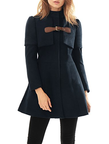 Allegra K Women Buckle fastening Worsted Caped Flare Long Coat Blue XS