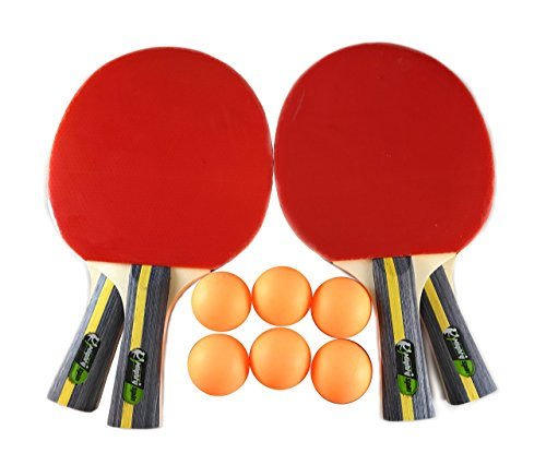 MightySpin Ping Pong Paddles Set - Complete W/ 4 Table Tennis Rackets & Balls Bundle, 6 Balls & (Pool Ball Counter)