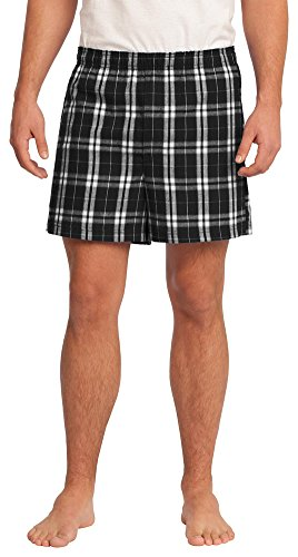 District Young Mens Flannel Plaid Boxer Short, Black, - Flannel Boxer Shorts