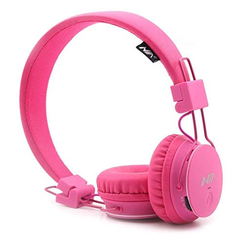 Kids Wireless Headphones, Toddler Boys Girls On-Ear Bluetooth Headphones with FM Radio, Microphone, TF Card Player, 3.5 MM Jack, Children Headset for iPhone, iPad, Laptop, Kindle – Pink