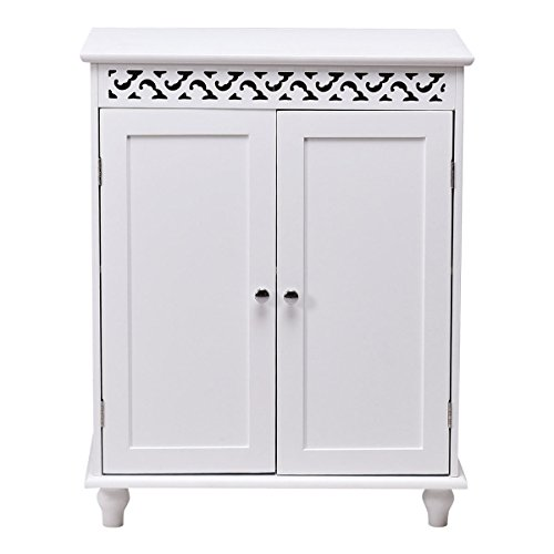 White Wooden Bathroom Floor Cabinet Storage Cupboard 2 Shelves Free (Complements Bamboo Rug)